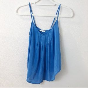 Silence and Noise blue 100% Silk tank top